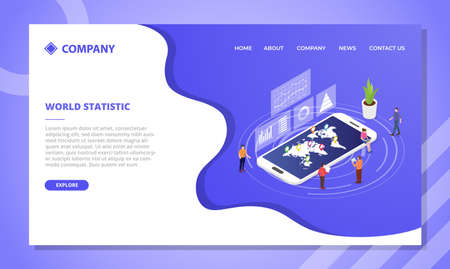 world statistics concept for website template or landing homepage design with isometric style vector illustration