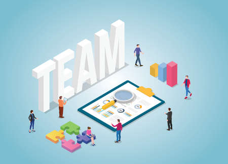 business team work together with graph and chart with modern isometric style vector illustration