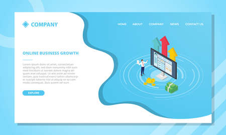 profitable online business concept for website template or landing homepage design with isometric style vector illustration