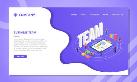business team concept for website template or landing homepage design with isometric style vector illustration