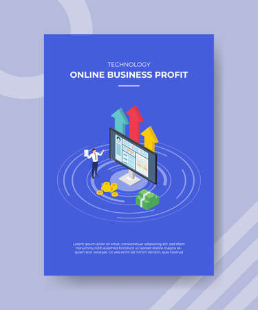 profitable online business concept for template banner and flyer for printing with isometric style vector illustration