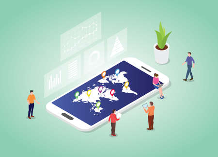 world statistic concept with worlds map and data with modern isometric style vector illustration
