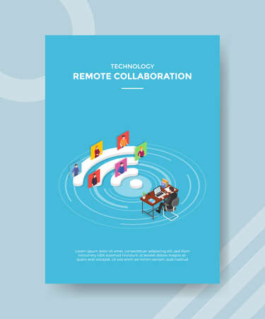 remote collaboration work concept for template banner and flyer for printing with isometric style vector illustration