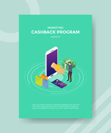 cashback program loyalty concept for template banner and flyer for printing with isometric style vector illustration