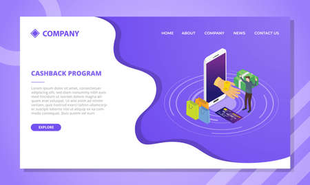 cashback program concept for website template or landing homepage design with isometric style vector illustration