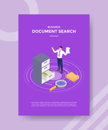document search concept for template banner and flyer for printing with isometric style vector illustration