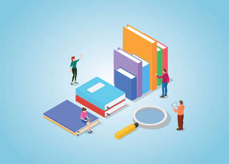 book search concept with books collection and people searching with modern isometric style vector illustration