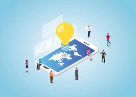 global idea concept on smartphone with world maps with modern isometric style vector illustration Illusztráció