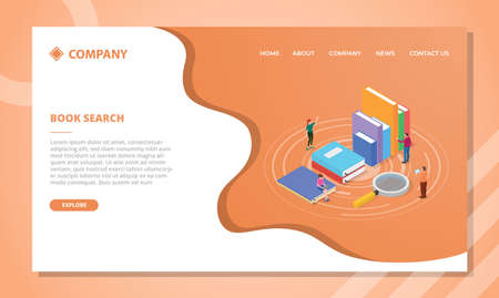 book search concept for website template or landing homepage design with isometric style vector illustration Illusztráció