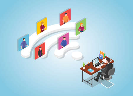 remote collaboration work digital concept with modern isometric style vector illustration