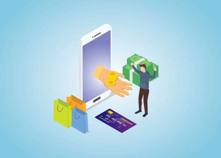 cashback program on e-commerce transaction with modern isometric style vector Illusztráció