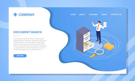 document search concept for website template or landing homepage design with isometric style vector illustration