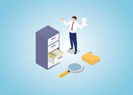 document search with file stack and cabinet with modern isometric style vector illustration