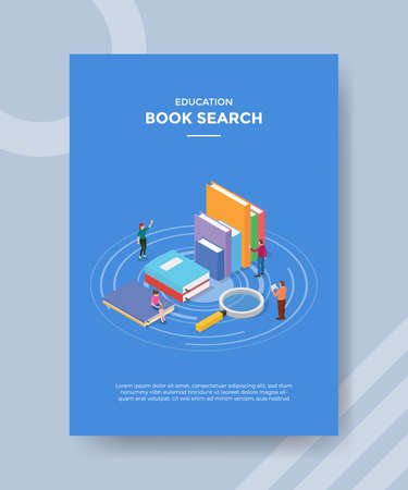book search concept for template banner and flyer for printing with isometric style vector illustration Illusztráció