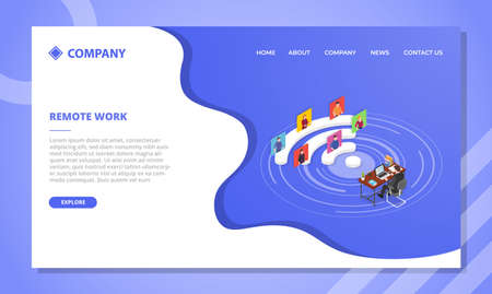 remote collaboration concept for website template or landing homepage design with isometric style vector illustration Illusztráció