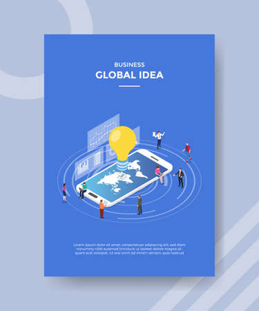 global idea concept for template banner and flyer for printing with isometric style vector illustration