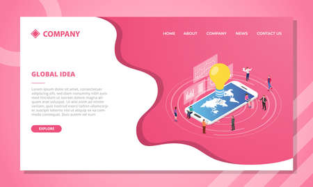 global idea concept for website template or landing homepage design with isometric style vector illustration