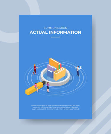 actual information concept for template banner and flyer for printing with isometric style vector illustration