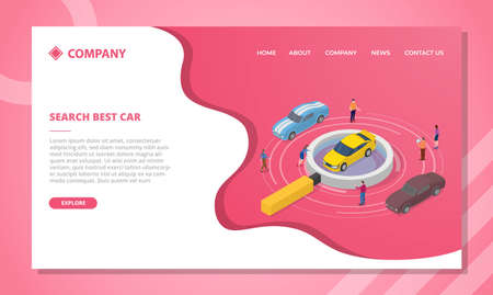 car search concept for website template or landing homepage design with isometric style vector illustration