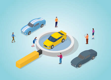 car search for the best analysis concept with modern isometric style vector illustration