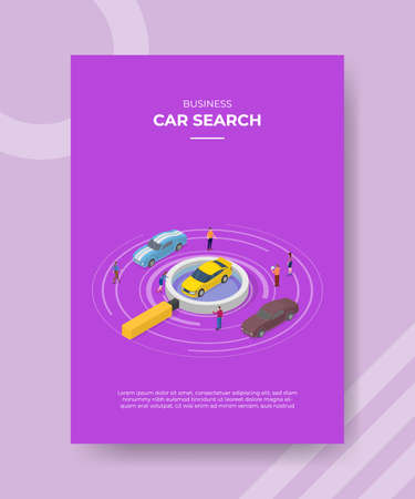 car search concept for template banner and flyer for printing with isometric style vector illustration