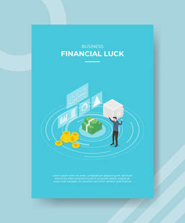 financial luck concept for template banner and flyer for printing with isometric style vector illustration