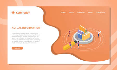 actual information concept for website template or landing homepage design with isometric style vector illustration Illusztráció