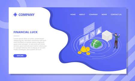 financial luck concept for website template or landing homepage design with isometric style vector illustration Illusztráció