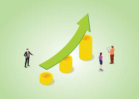 increase income with people and up raise on money gold coin concept with modern isometric style vector illustration