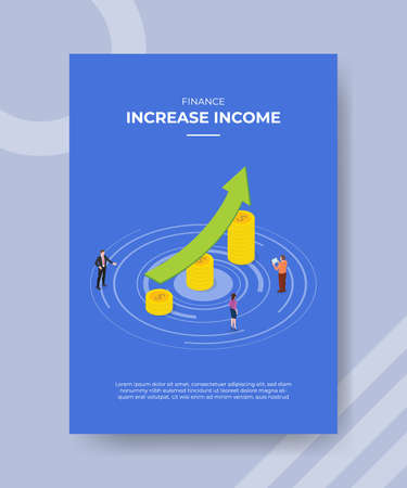 increase income concept for template banner and flyer for printing with isometric style vector illustration Illusztráció