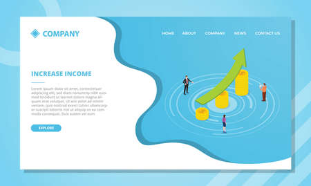 increase income concept for website template or landing homepage design with isometric style vector illustration