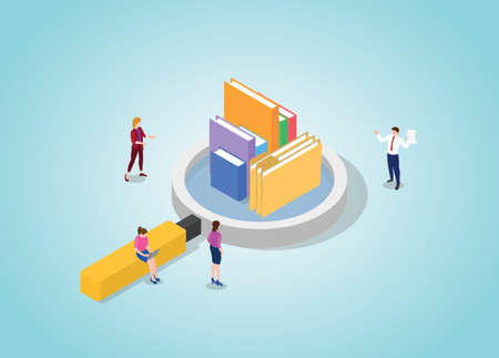 actual information with some books and folder info concept with modern isometric style vector illustration Illusztráció