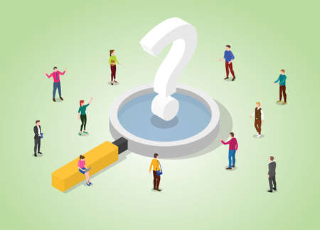 searching for answer concept with modern isometric style vector illustration