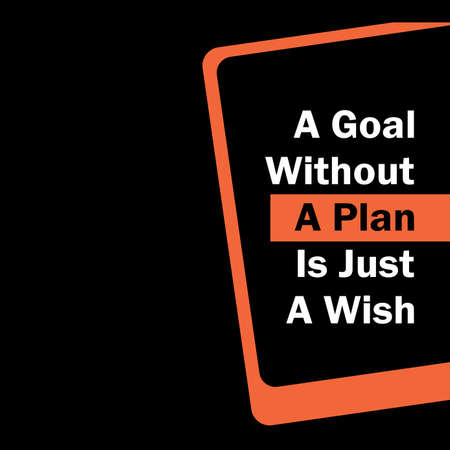quote  A Goal without a plan is just a wish  icon design vector Çizim