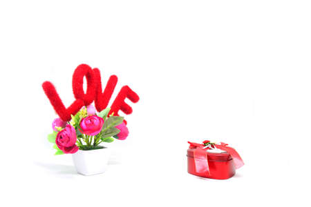 love text and valentines day gift box 스톡 콘텐츠