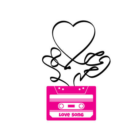 Vintage audio cassette illustration with heart shaped messy tape. Vector