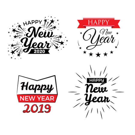 Happy New Year typographic emblems set. Vector logo, text design. Black, white and red. Usable for banners, greeting cards, gifts etc. 일러스트