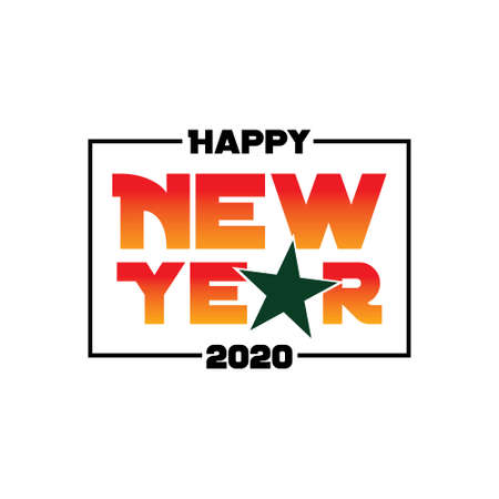 Happy 2020 New Year. Holiday Vector Illustration With Lettering Composition.