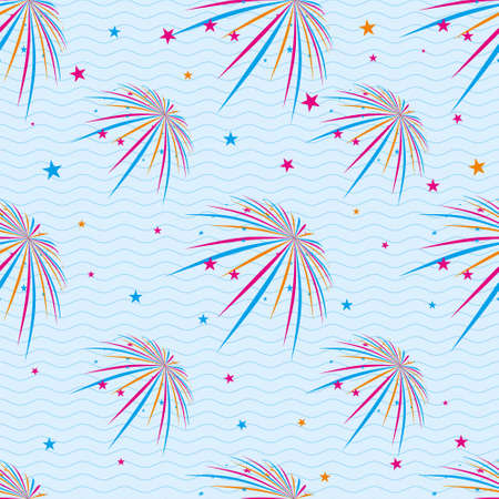 Vector seamless pattern with different colorful fireworks on blue background