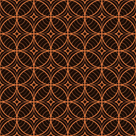 Seamless vector background. Javanese Batik Seamless Pattern with brown color. Ornament for fabric, wallpaper, packaging, Decorative print
