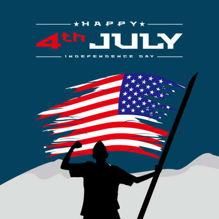 Happy 4th of July USA Independence Day greeting card with waving american national flag. Vector illustration. 일러스트
