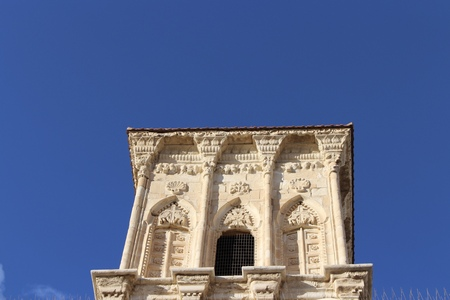 Detail of the bell tower of the medieval church of St Lazarus in Larnaca, Cyprus.