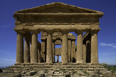 Agrigento, Temple of Concordia in famous ancient greece valley of temples, frontal view.