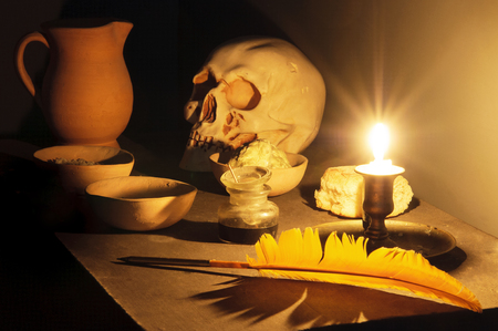 Masonic reflection chamber with alchemic symbols: the skull, the pen, the salt, the mercury, the sulphur