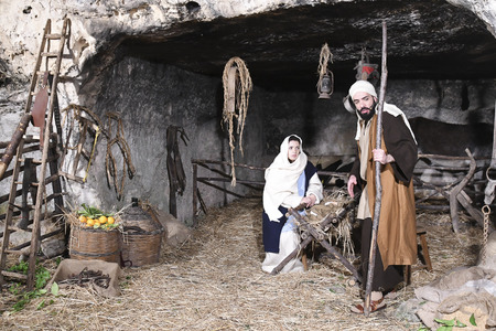ISPICA (RG) - ITALY/SICILY 1 1 2018: The living nativity scene of Ispica is said to be the most beautiful in Sicily, here arrived at the 20th edition. In the picture, Joseph, Mary, Jesus 에디토리얼