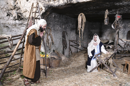 ISPICA (RG) - ITALY/SICILY 1 1 2018: The living nativity scene of Ispica is said to be the most beautiful in Sicily, here arrived at the 20th edition. In the picture, Joseph, Mary, Jesus Editoriali