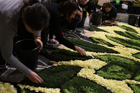 NOTO, ITALY - MAY 19th 2018: The famous Infiorata, in Noto, the town in Sicily famous for its baroque. Artists associations are creating drawings with flowers and petals in the gorgeous Via Nicolaci. Archivio Fotografico - 107121406