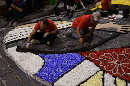 NOTO, ITALY - MAY 19th 2018: The famous Infiorata, in Noto, the town in Sicily famous for its baroque. Artists associations are creating drawings with flowers and petals in the gorgeous Via Nicolaci. Archivio Fotografico - 107121408