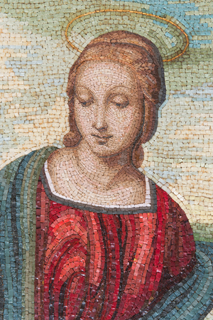 A very nice madonna made in glass and marble mosaic tiles. The style looks like the Madonna del Cardellino of Raffaello Sanzio, the famous artist of Italian Renaissance.