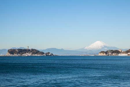 Mt. Fuji and Enoshima 免版税图像 - 113828741